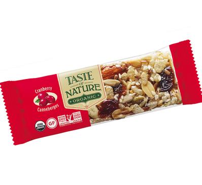 Barre céréales BIO Taste of nature Cranberry